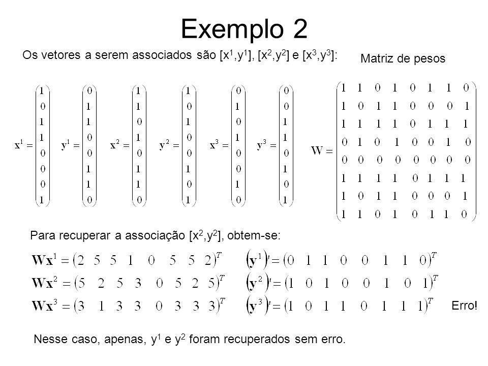 Exemplo 2 Os vetores a serem associados são [x1,y1], [x2,y2] e [x3,y3]: Matriz de pesos. Para recuperar a associação [x2,y2], obtem-se: